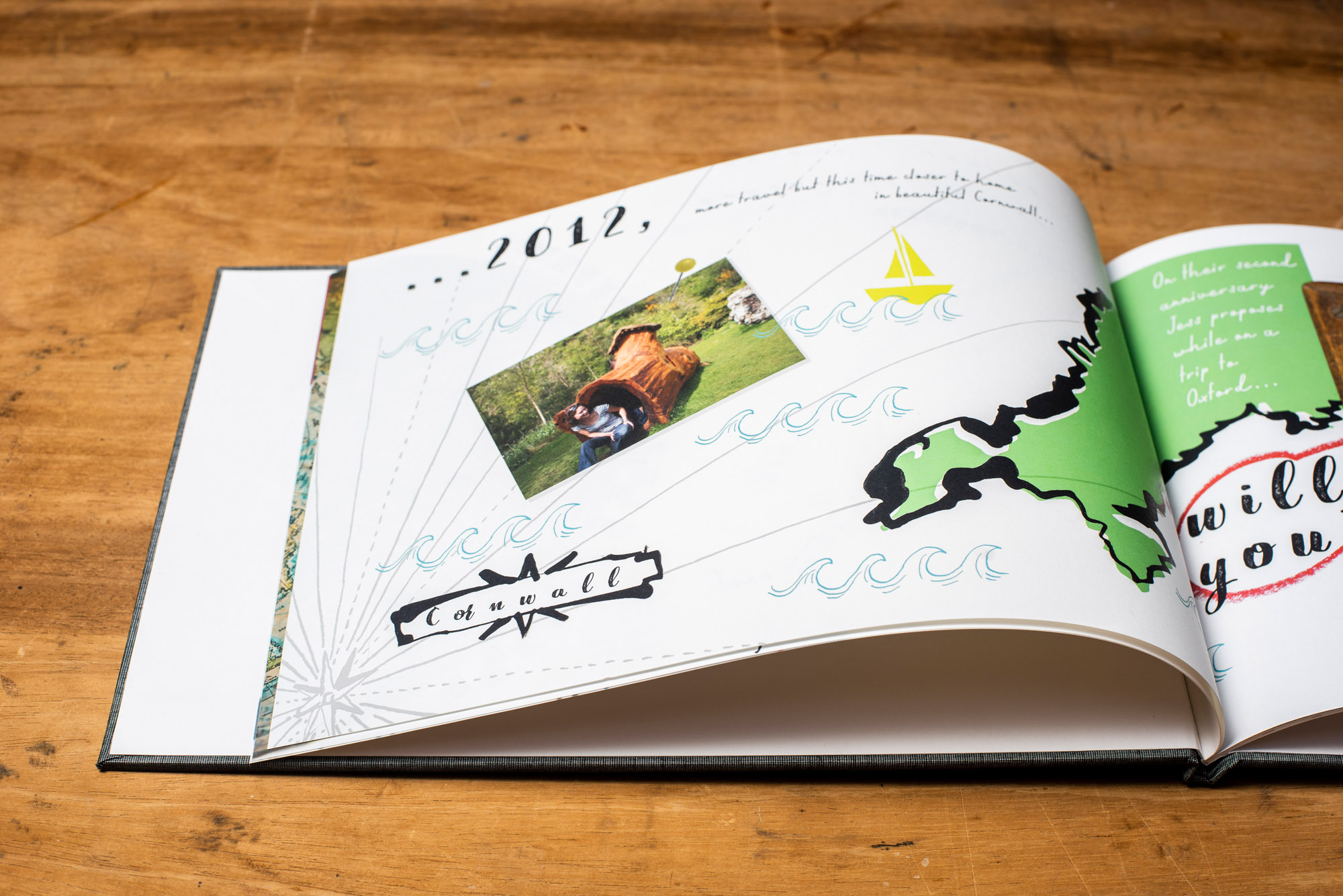 These bespoke luxury illustrated scrap books work so well for your partners birthday or your wedding anniversary. The story of your lives together, the growing family, the adventures you've already shared, the fun you plan for your futures together.
