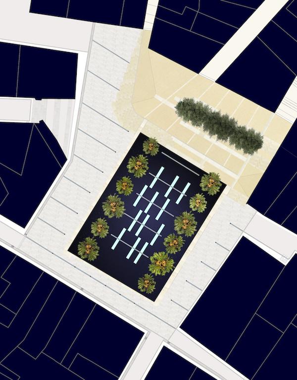 Plan Masse       RENOVATION D'UN ESPACE PUBLIC    Lieu  Plaza del Carmen, Alicante 03003, Espagne  Date  2002 2003 étude et concertation, 2005 2008 chantier  Mission  Mission complète de maîtrise d'oeuvre urbaine  Equipe projet  FMAU (mandataire) / J. Martin , M. Borrego Archéologue Programme  Restructuration d'une place historique sur l'emprise d'un ancien couvent dominicain  Surface  600 m² place + 1000 m² de voirie  Maîtrise d'ouvrage  Patronato Municipal de la Vivienda de Alicante  Montant des travaux  1,5 M € HT  Crédits Photographiques  © FMAU    La Plaza del Carmen est une très vieille place du centre ancien d'Alicante, bâtie sur les ruines d'un couvent du XVème siècle, mais abandonnée depuis quinze ans aux trafics illégaux et aux soirées étudiantes. Le reste de la population en avait peur. Sa rénovation était une option du concours Europan 3, mais aucune réponse n'avait réussi à convaincre l'architecte en chef de la restauration du centre ville.  Le projet réalisé est le résultat de plusieurs mois d'analyse  in situ,  de présence quotidienne pour comprendre toutes les nuances de la population hétérogène qui habite le centre ancien d'Alicante. Entre familles gitanes et touristes européens, jeunes et vieux, bars de nuit et restaurants, le lieu vit presque 20 heures sur 24.