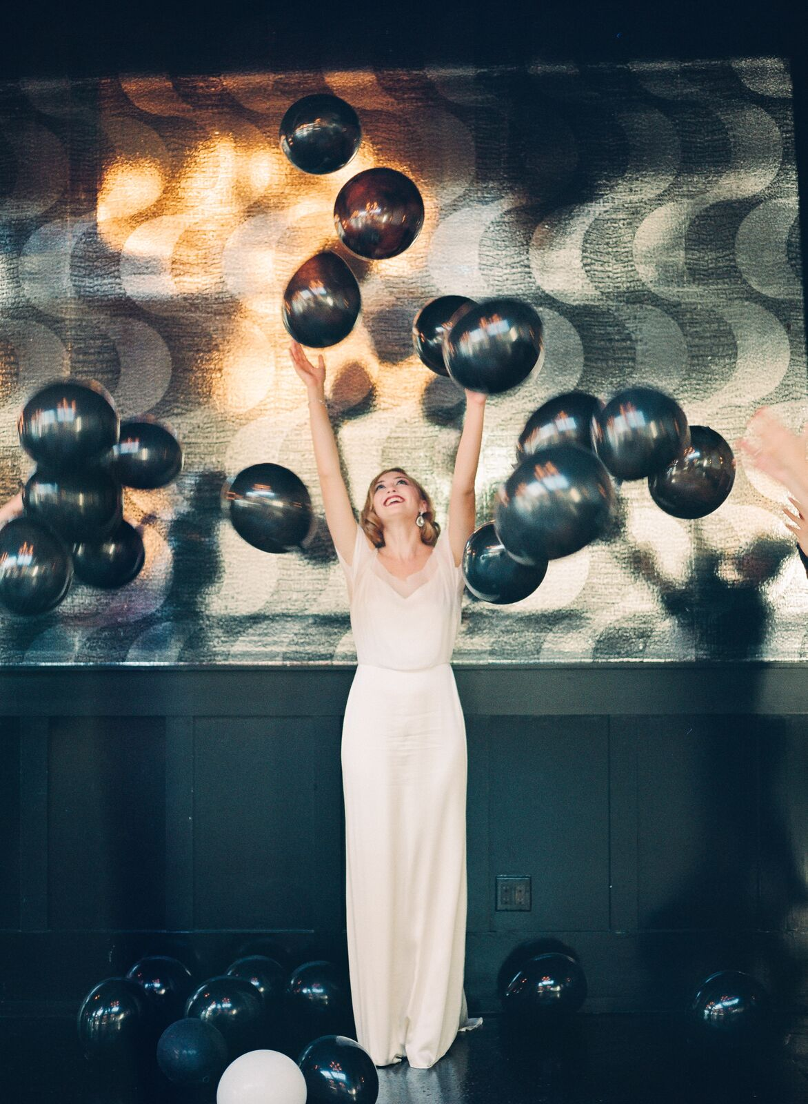 Photography:  Mariel Hannah / Creative Direction + Styling:  Mandy Forlenza Sticos / Venue:  501 Union / Dress:  Saja Wedding / Veil:  Amalee Accessories / Shoes, Earrings + Bracelet:  Nina Shoes / Hair:  Katelyn McGinn / Makeup:  Jha Villanueva / Cake:  Made in Heaven Cakes / Sequin Linens:  Candy Crush Events / Invitation Suite:  Fleur de Letters / Ribbon:  Silk + Willow  / Vintage Props:  Little Vintage Rentals  / Clay Feather:  Anny Made  / Model:  Emma