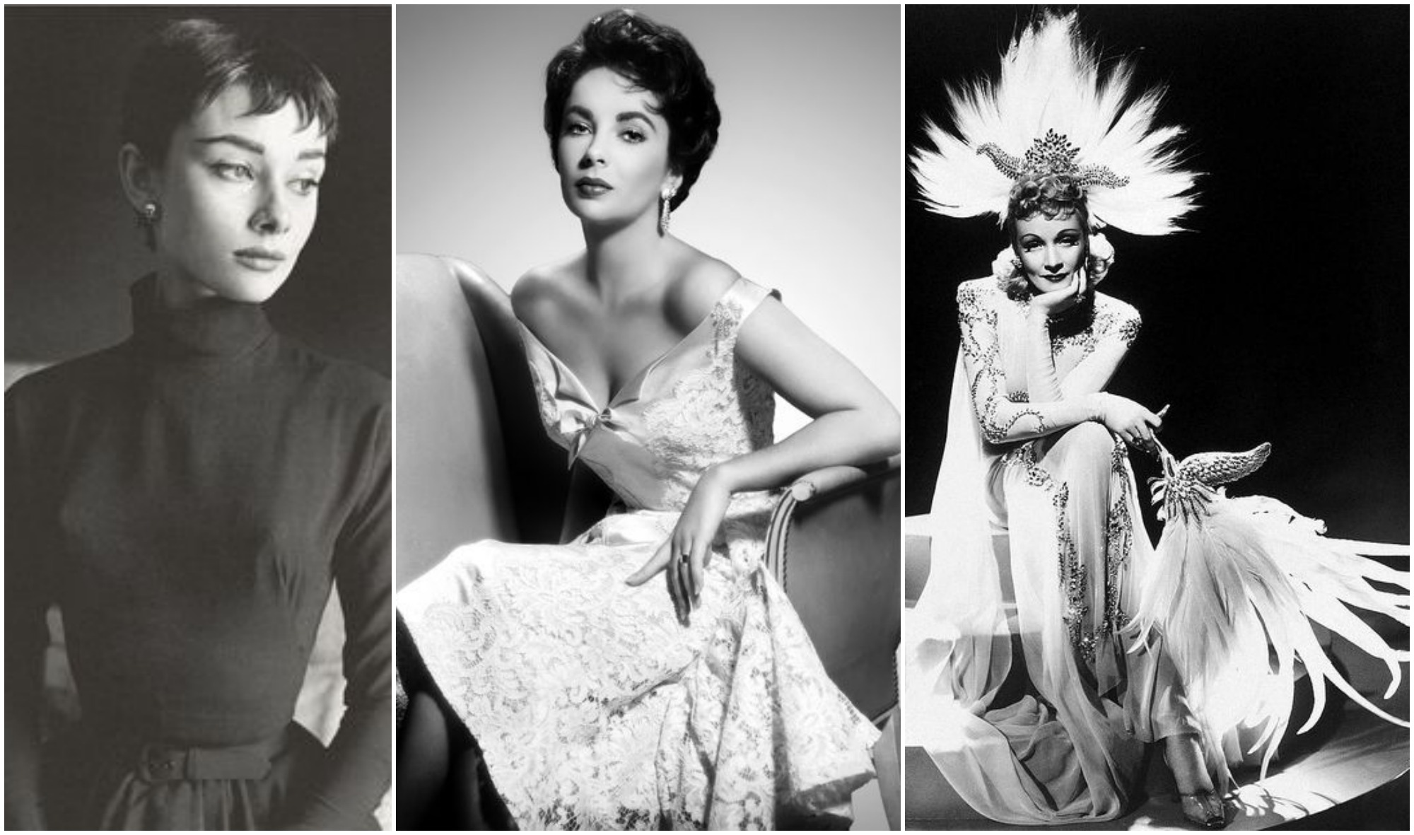 Audrey Hepburn, Elizabeth Taylor e Marlene Dietrich