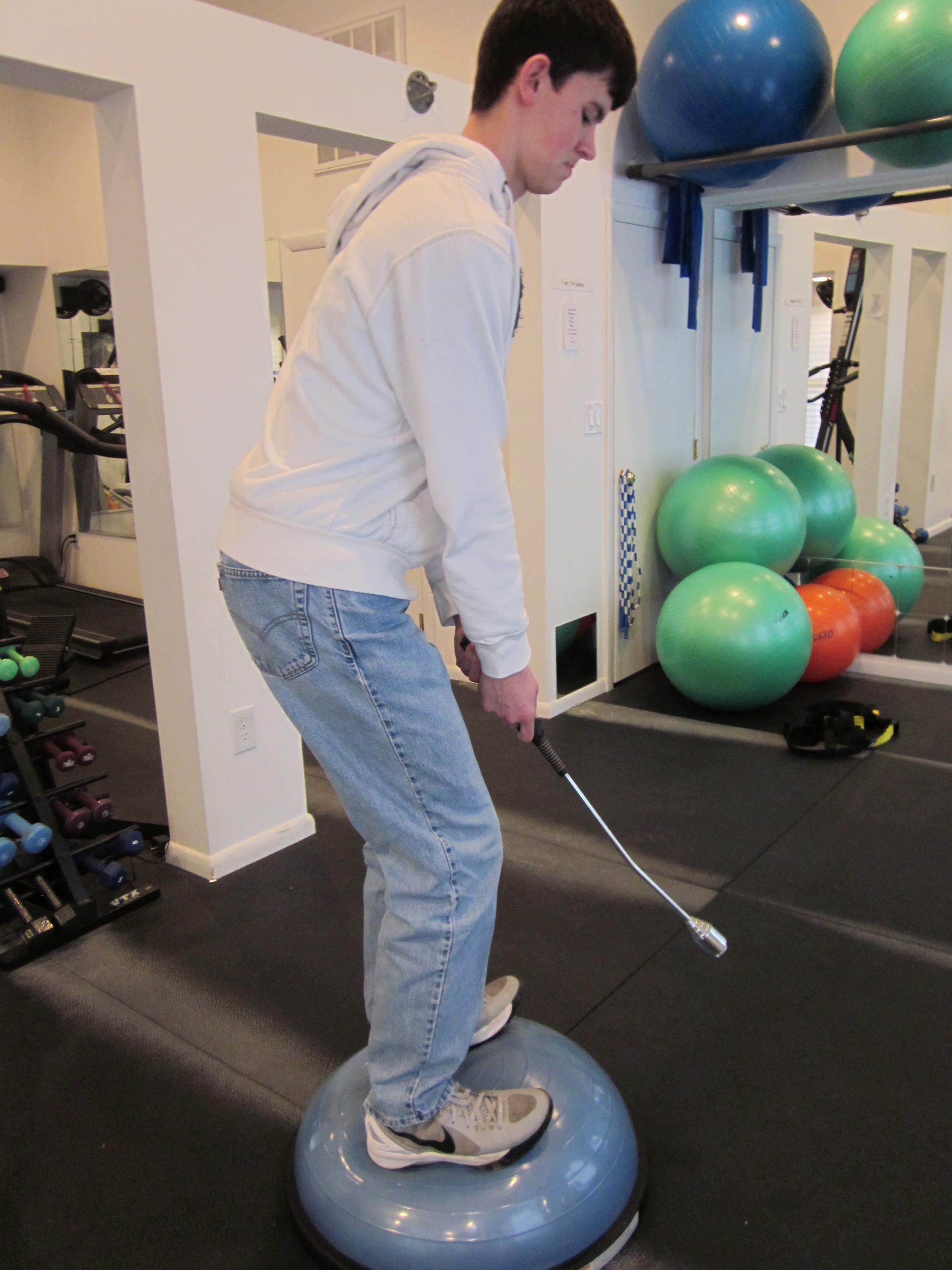 Tom Golf Bosu ball.JPG