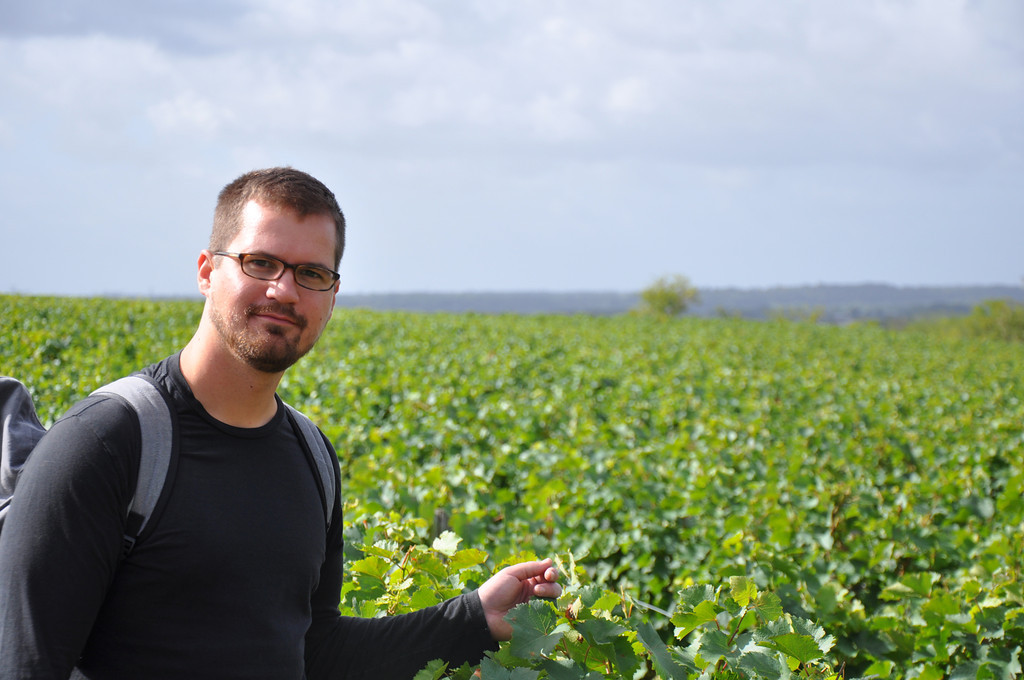 Our own Adam Bremer visiting the esteemed vineyards at Domaine Huet