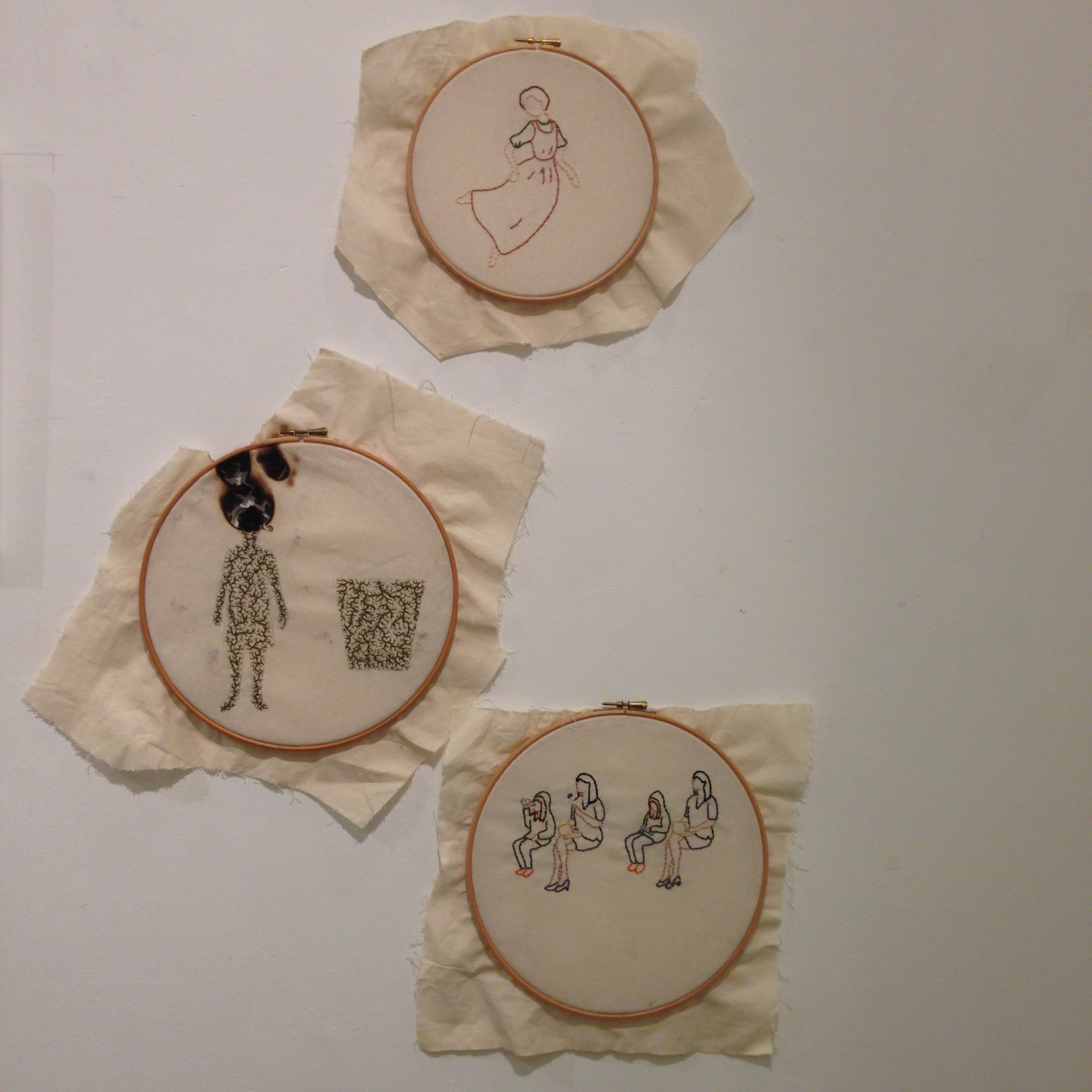 Embroideries, including a burnt one.