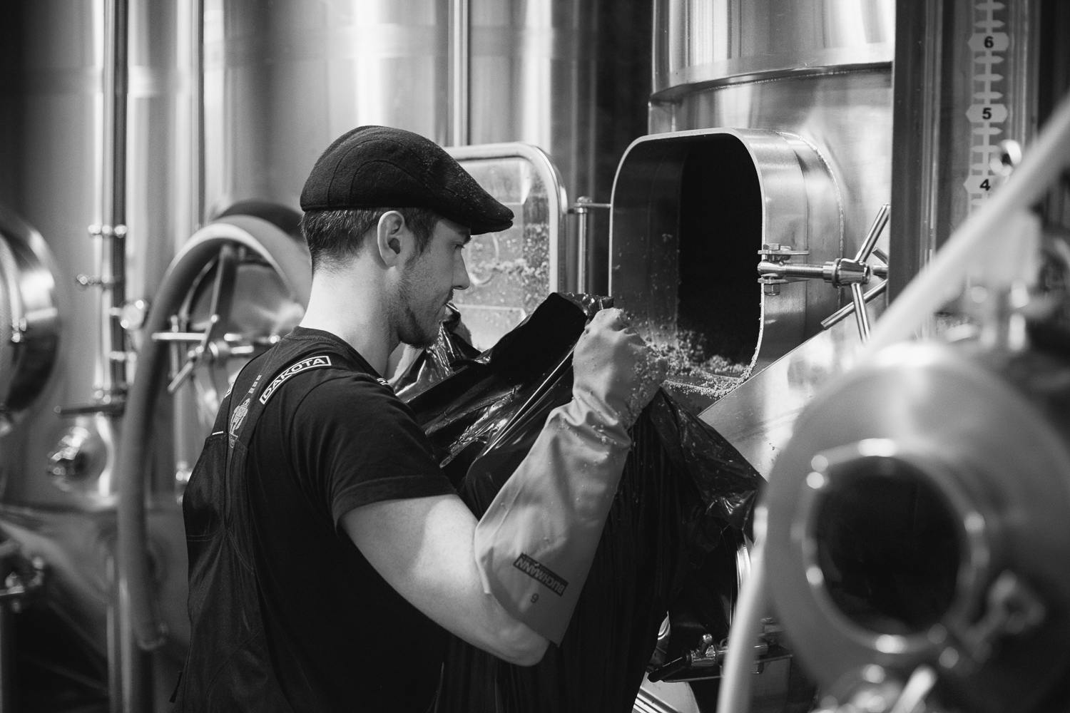 Callum of Halo Brewery cleaning.