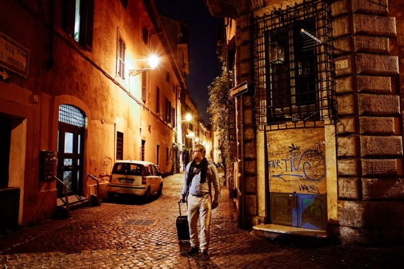"Arrival in Trastevere, Roma. From my self-portrait series, ""Roma per uno."""