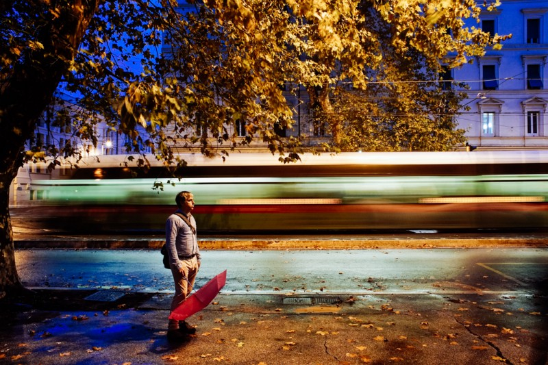 """Tram, Roma. From my self-portrait series,""""Roma per uno""""."""