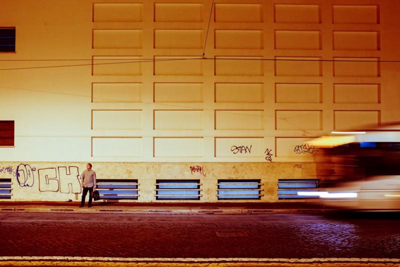"Bus Stop, Rome. From my self-portrait series, ""Roma per uno""."