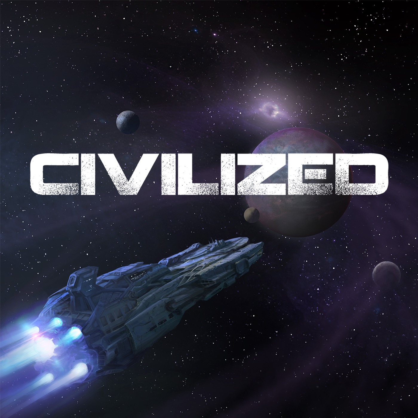Civilized Logo of a Ship in space heading towards planet