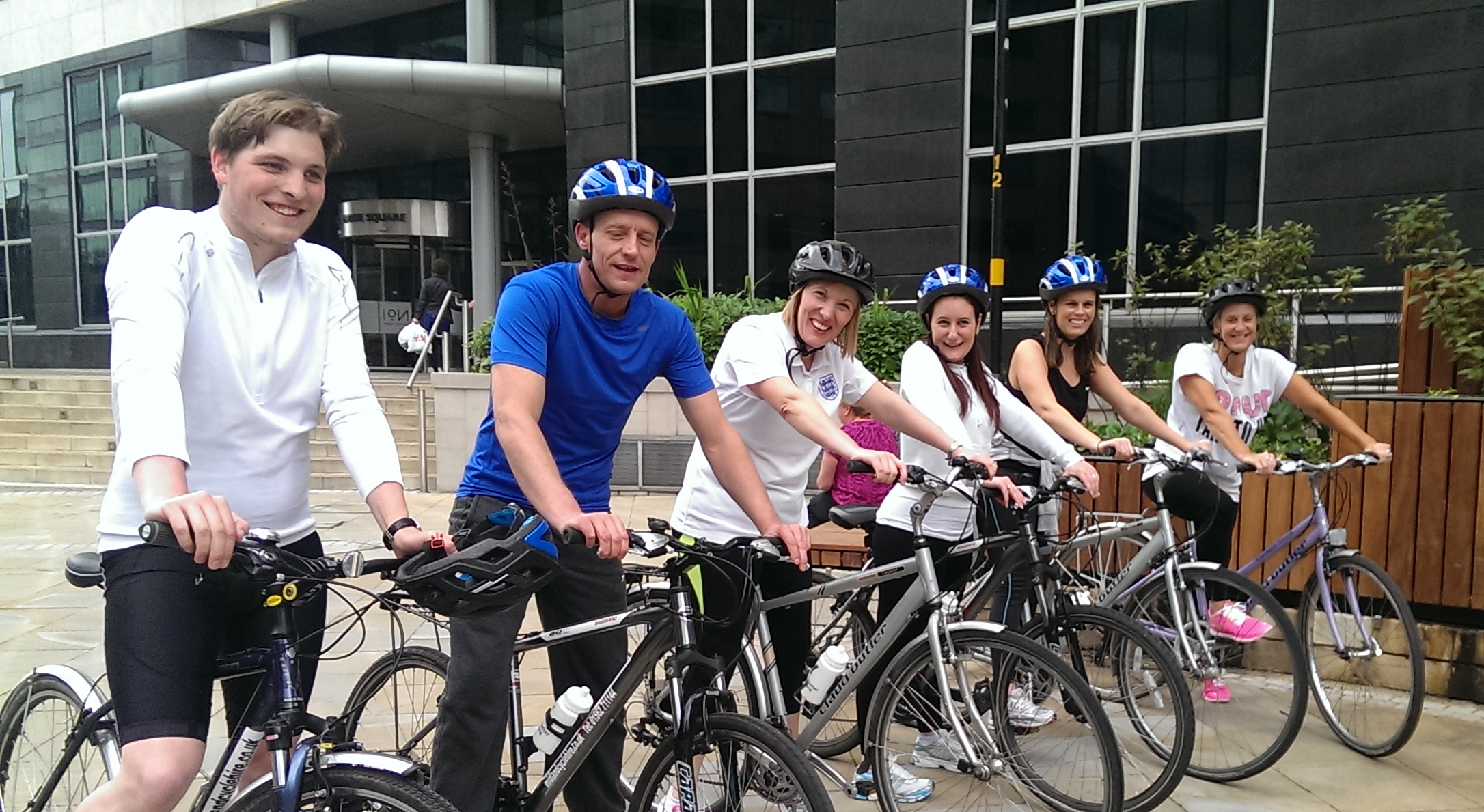 Staff at E&Y enjoy a lunch time bike ride
