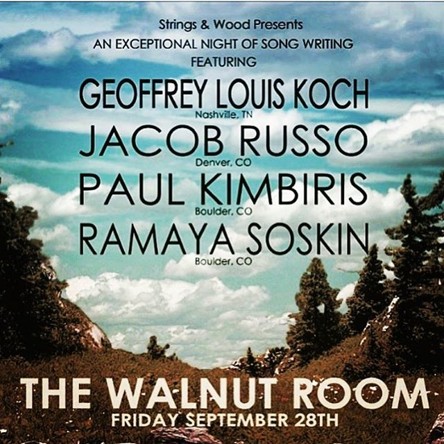 DENVER!🚨Will be wonderful to be back @thewalnutroom this Friday night w/ @jacobrussomusic @ramayasoskin @paulalexios $10 advance tickets at www.thewalnutroom.com ❤️ #denver #songwriter #thewalnutroomdenver