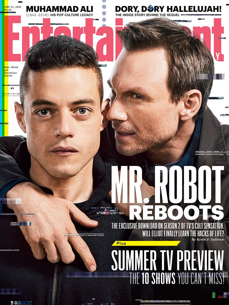 Rami Malek and Christian Slater from Mr. Robot