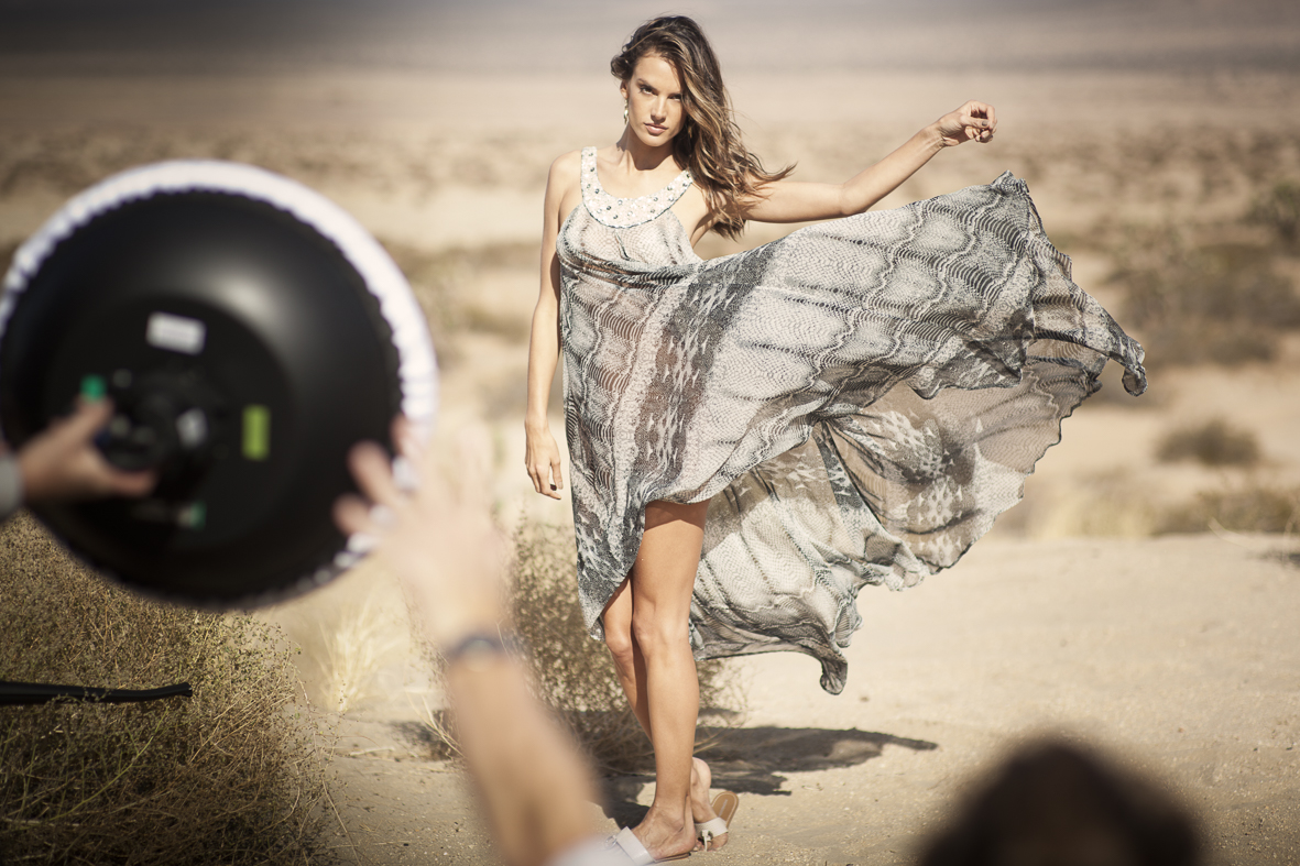 Alessandra Ambrosio on location for Monsoon