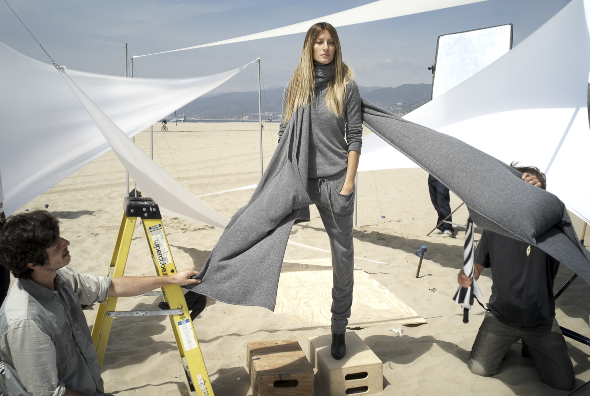 On set with Gisele Bundchen for Stefanel