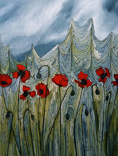 White Cap Art - Poppies
