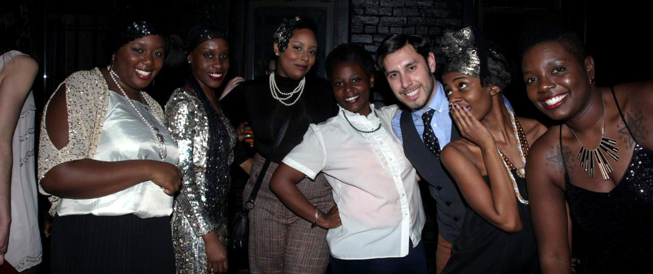 Me and my Brooklyn crew at 1920s-inspired event. Of course, I dressed to channel Katherine Hepburn's 1930s menswear-infused aesthetic because I'm always forward-seeking by flamboyantly spreading my rich appreciation for cultural history to whomever cares to hear it or not. Waxing vintage in an intentionally curated old-school-fresh poetic mashup is the way I like to mix timeless style with pop fashion nostalgia.