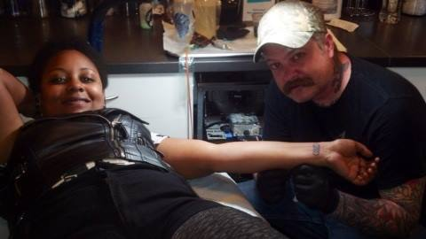 After getting my first tattoo etched on me at Electric Ladyland Tattoo during my DIrty Thirty getaway with friends to NOLA.