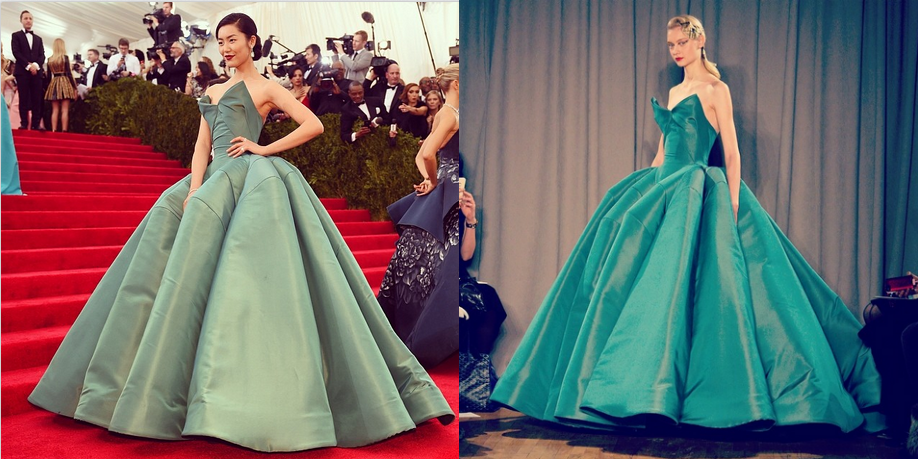 On the left, Liu Wen rocking Zac Posen at the Met Ball (4,288 likes and counting). On the right, one of the most popular photos from @MBfashionweek's Instagram feed during February's #NYFW (4,707 likes).