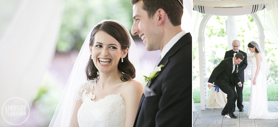 Jewish wedding ceremony at The Riverview in Connecticut and breaking of the glass