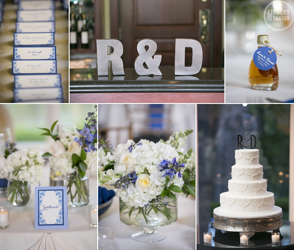 Wedding reception details, centerpieces, cake, maple syrup favors and placecards
