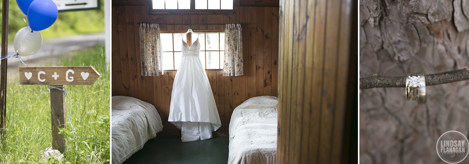Rockywold Deephaven Camp wedding details; wedding dress and wedding rings.