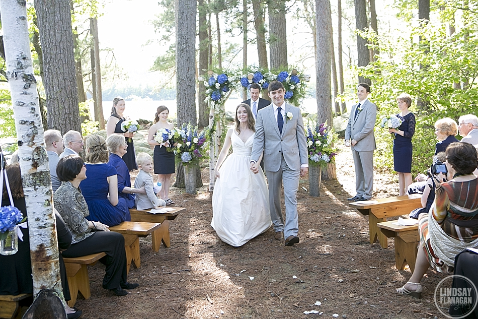 Rockywold Deephaven ceremony bride and groom recessional