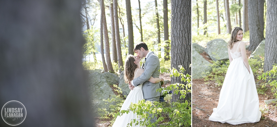 Rockywold Deephaven Camp wedding bride and groom portraits