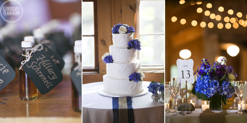 Rockywold Deephaven camp wedding details - maple syrup favor - wedding cake - centerpieces