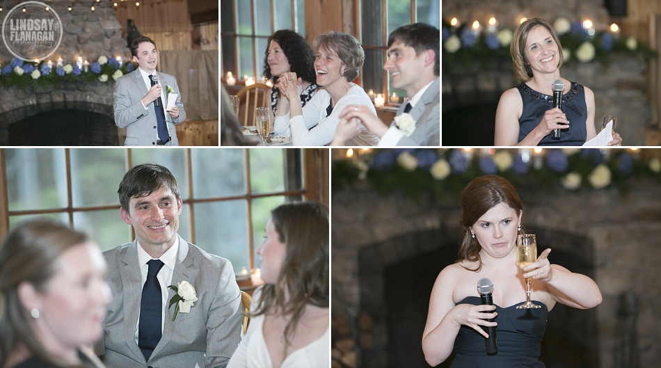 Rockywold Deephaven wedding dining hall speeches