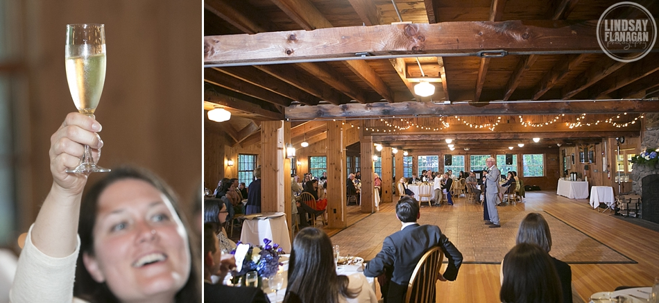 Rockywold Deephaven camp wedding reception speeches in the dining hall