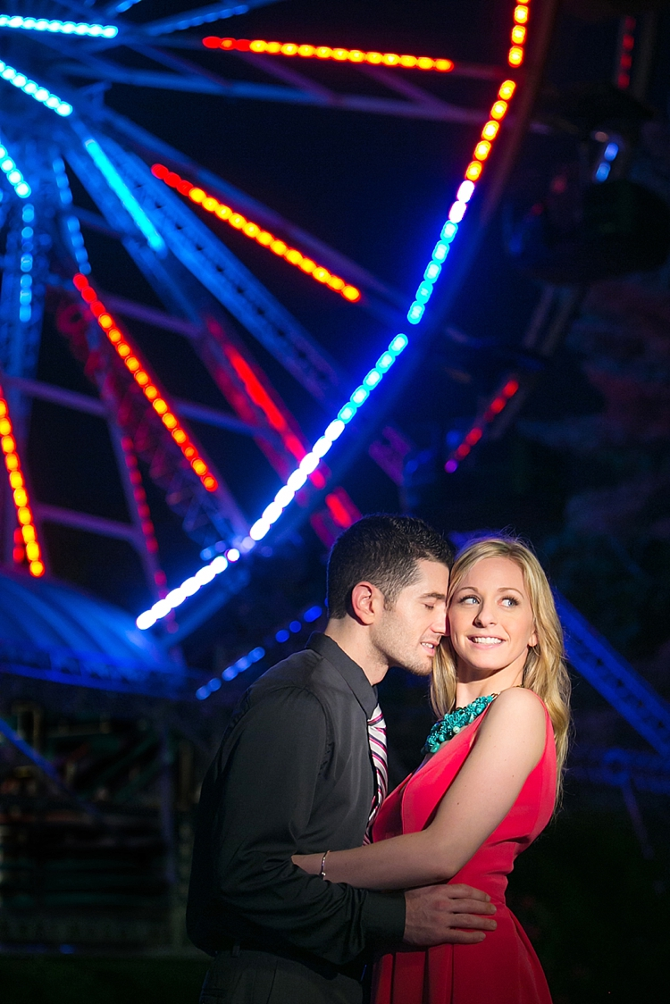 Amusement Park Night Portrait Engagement