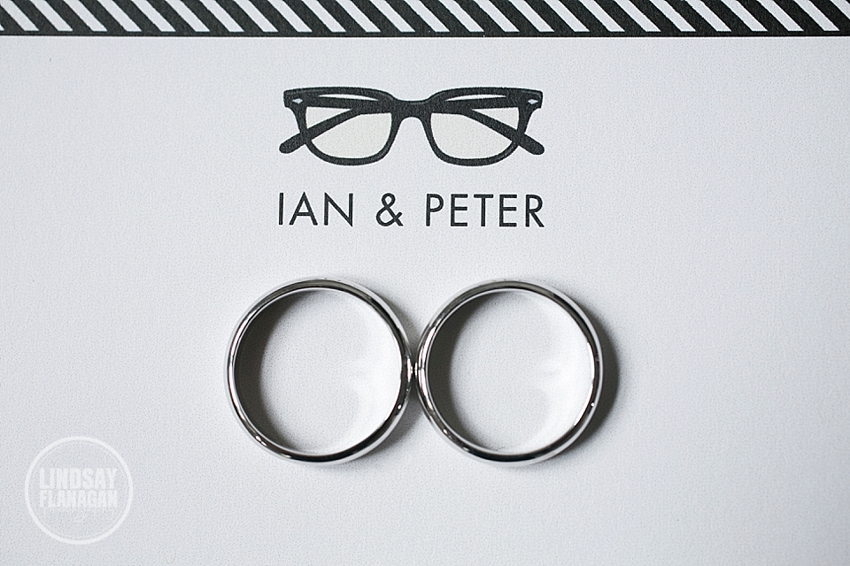 Same Sex Gay Wedding Rings and Stationary with Glasses Theme