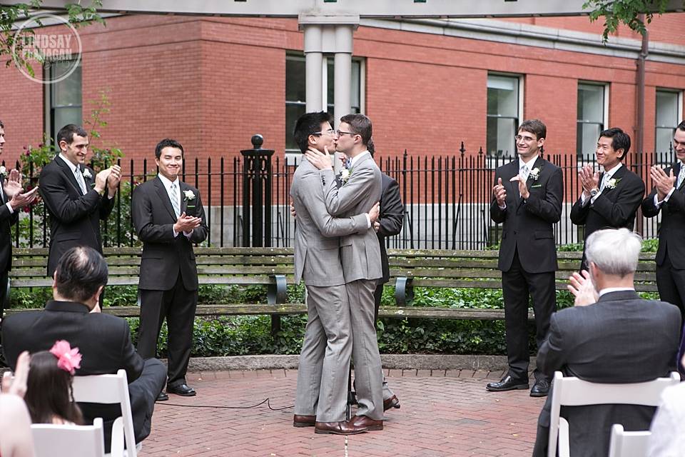 Same Sex Gay Wedding Ceremony Grooms Kiss