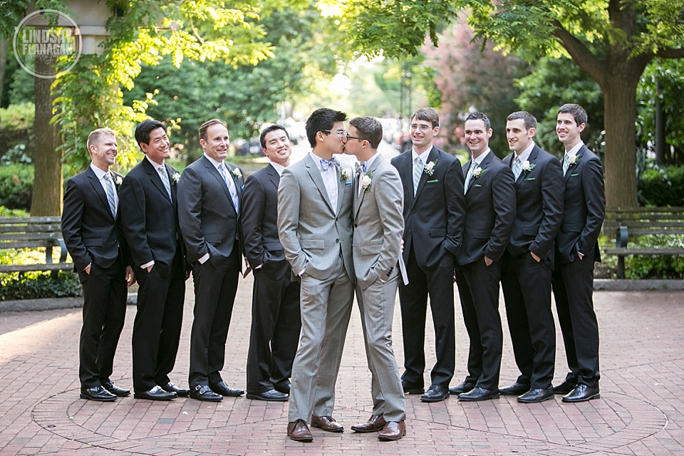 Same Sex Gay Wedding Groom Groomsmen Portrait Cambridge