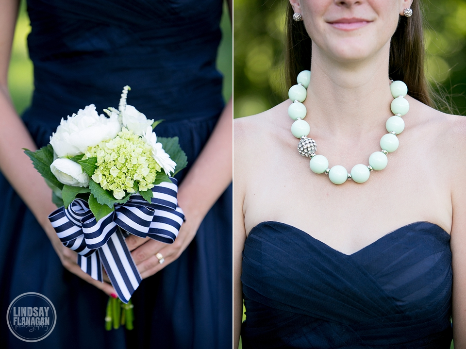 LaBelle Winery Wedding Bridesmaid Bouquet Necklace Navy