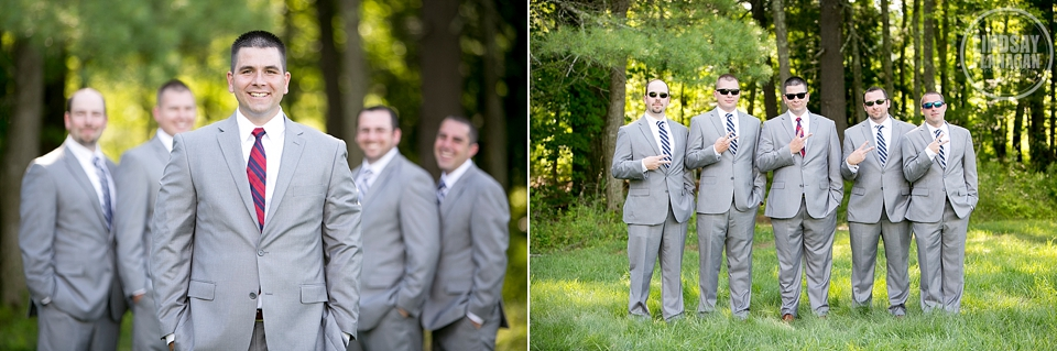 LaBelle Winery Wedding Groom Groomsmen Gray Suits