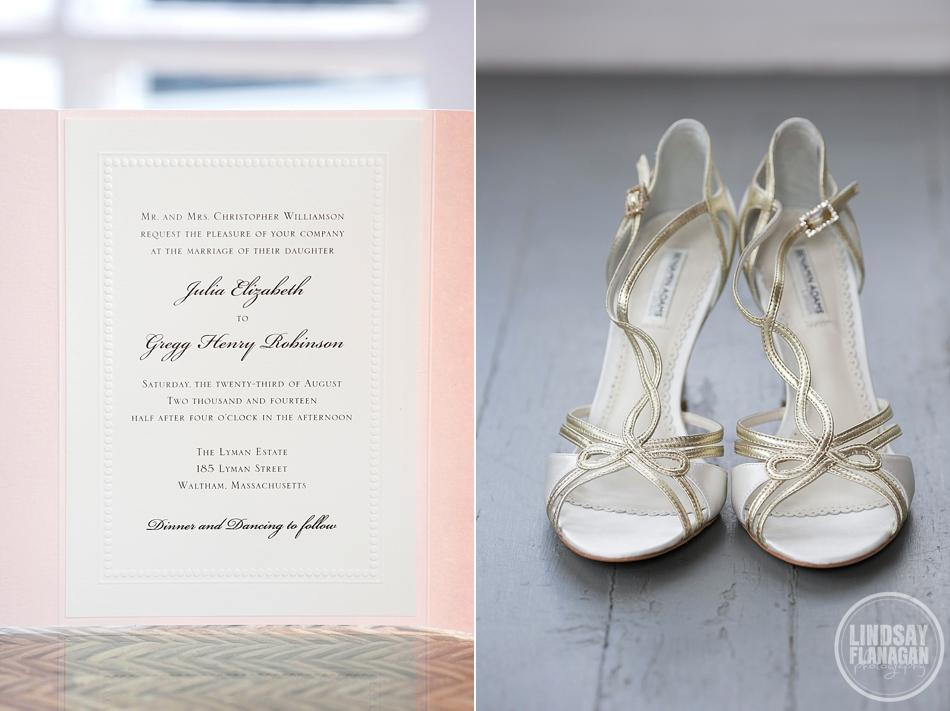 Lyman Estate Waltham Massachusetts Wedding Invitation Bride Shoes