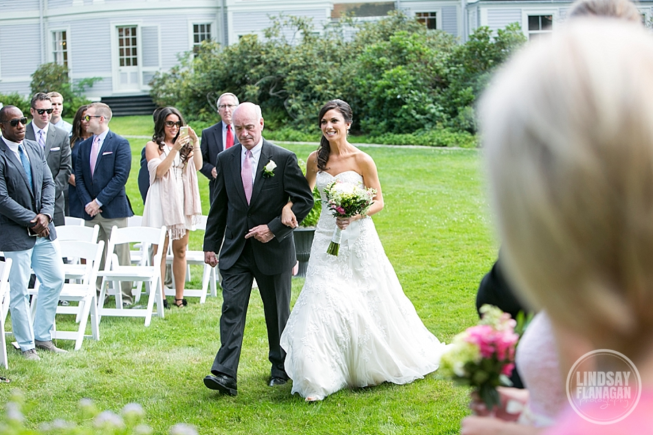Lyman Estate Massachusetts Wedding Ceremony Bride Dad Outdoors