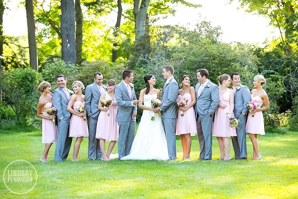 Lyman Estate Massachusetts Wedding Party Portrait Outdoors