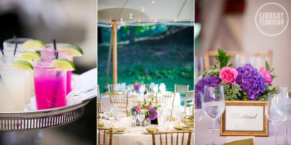 Lyman Estate Massachusetts Wedding Reception Details Centerpiece Pink Purple