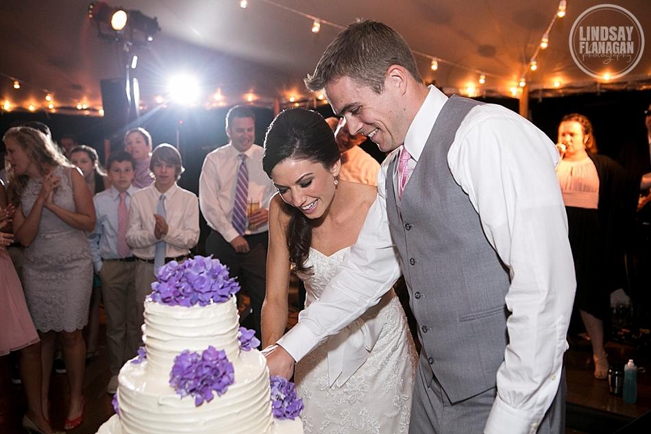 Lyman Estate Massachusetts Wedding Reception Cake Cutting