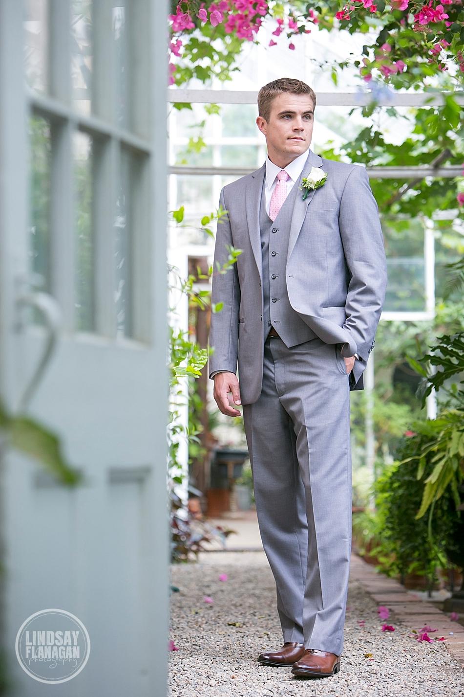 Lyman-Estate-Massachusetts-Wedding-Groom-Portrait-Greenhouse