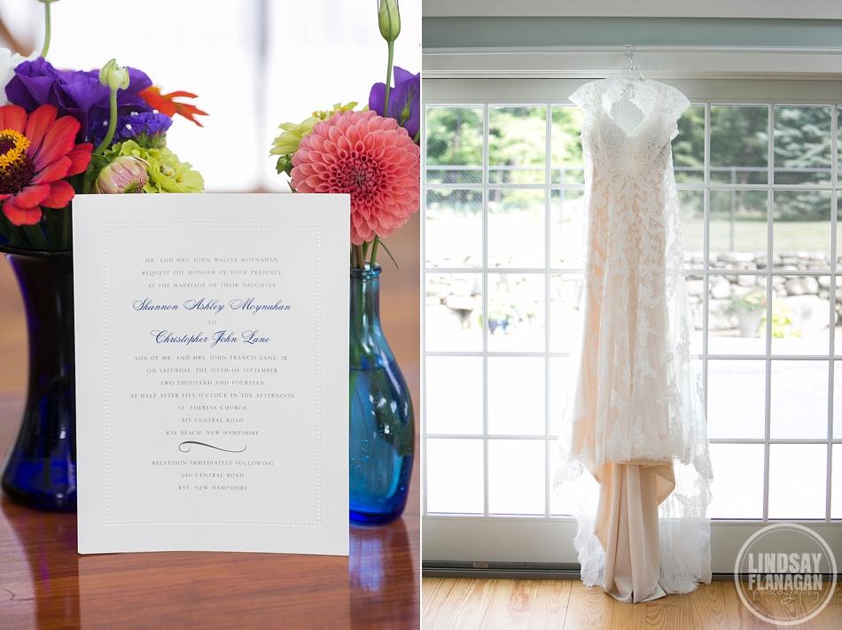 Rye New Hampshire Wedding Bride Dress Invitation Blue Pink