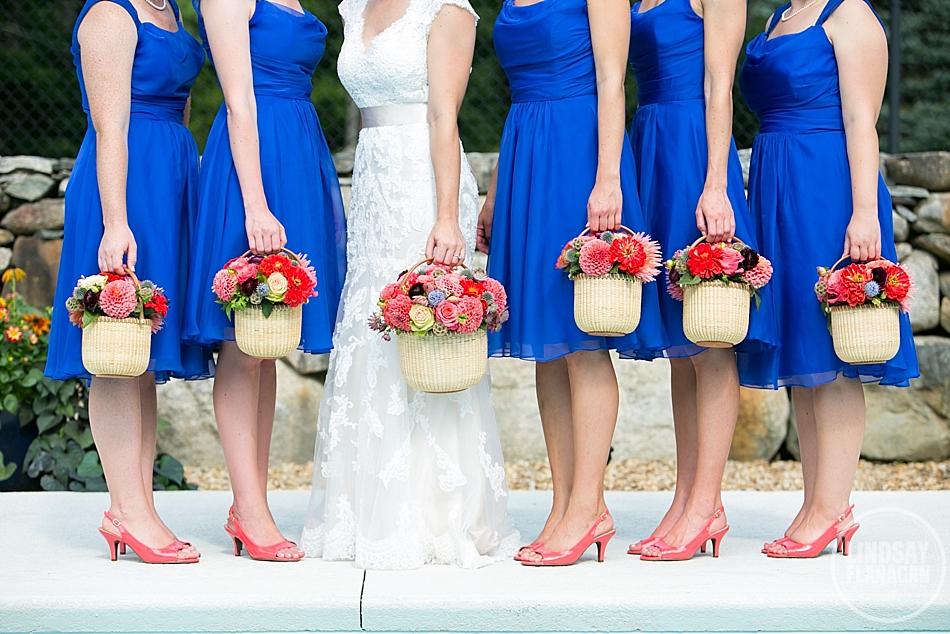 Rye New Hampshire Wedding Bridesmaids Bouquet Basket Pink Coral Blue