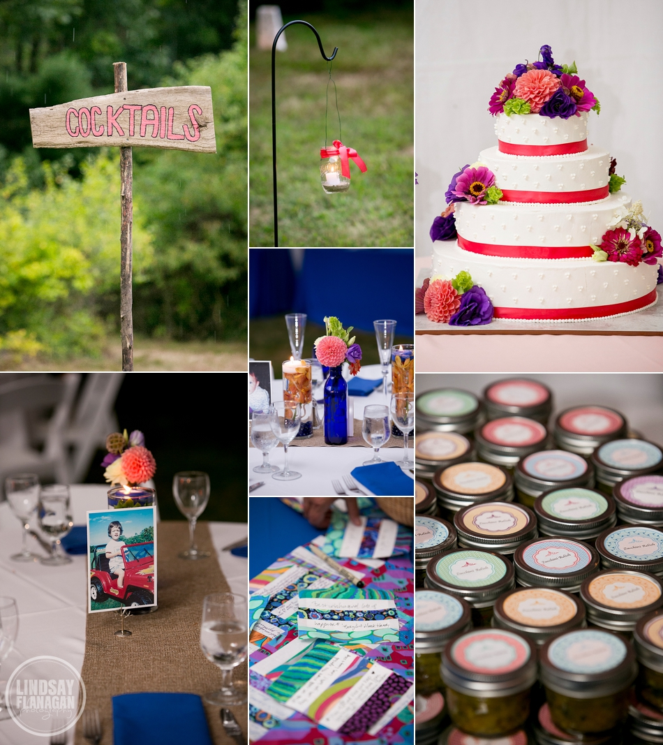 Rye New Hampshire Wedding Details Cake Centerpieces Favors Pink Blue