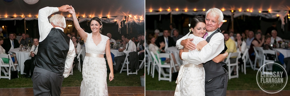Rye New Hampshire Tented Wedding Reception Father Daughter Dance