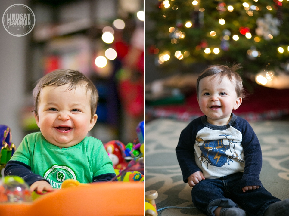 Cute Baby Henry Smiling during Christmas in New Hampshire