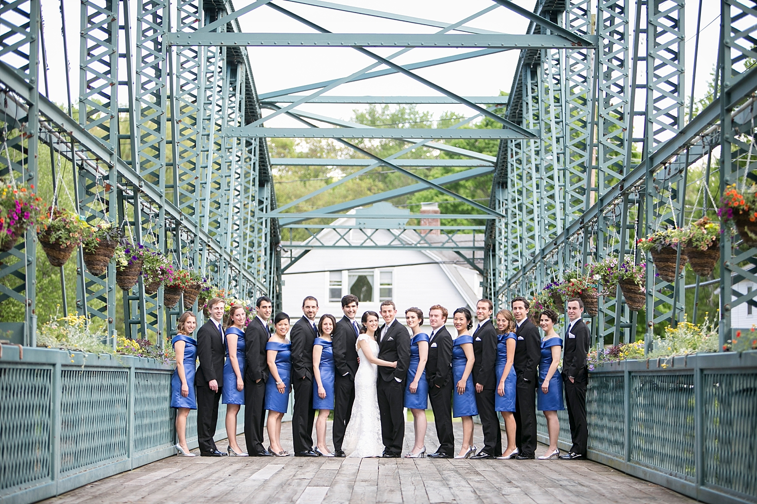 Riverview-Connecticut-Wedding-Party-Portrait-Flower-Bridge