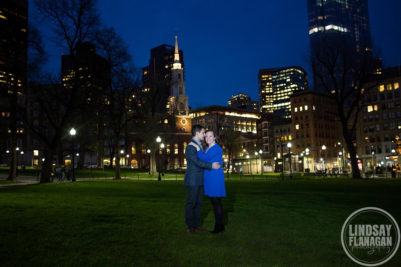 Boston Common City Night Engagement Photographer