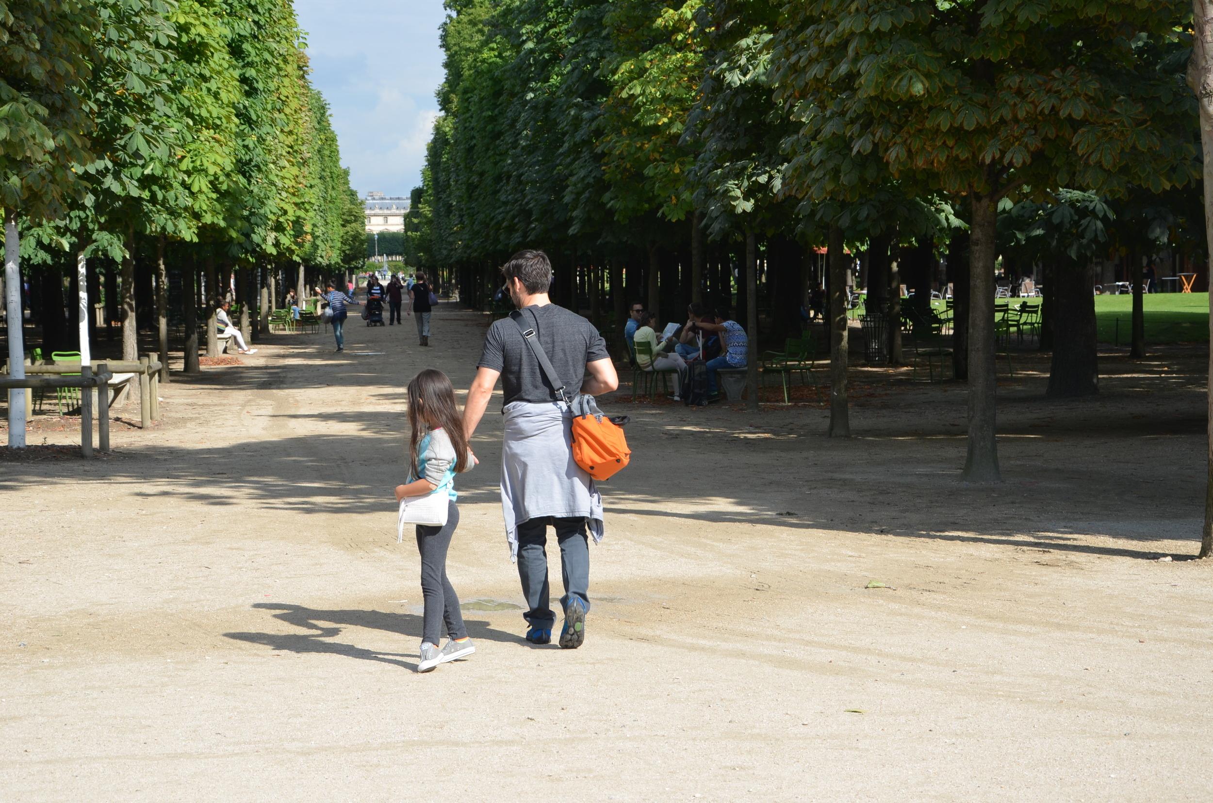 Exploring Paris gardens with my daughter