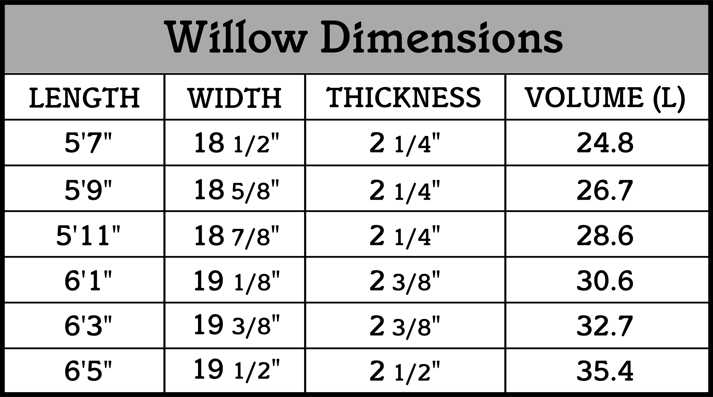 willow dimensions
